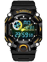 SMAEL Hombre Niños Reloj Deportivo Chino Digital PU Banda Negro Verde Azul marino