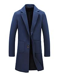 Men's Plus Size European Style Slim Solid Color Single Breasted Woolen Coat