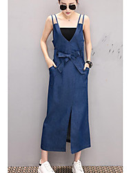 cheap -Women's Daily Going out Casual Denim Dress,Solid V Neck Midi Sleeveless Cotton Spring Summer Mid Rise Micro-elastic Opaque