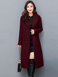 Women's Plus Size Going out Street chic Sophisticated Fall Winter Coat,Solid Shirt Collar Long Sleeve Long Cashmere Polyester