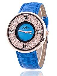 Homens Relógio de Moda Relógio de Pulso Único Criativo relógio Relógio Casual Relógios Femininos com Cristais Chinês Quartzo PU Banda