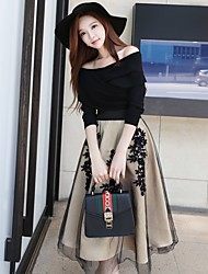 DABUWAWA Women's Holiday Going out Casual/Daily Work Sexy Vintage Simple Short PulloverSolid Off Shoulder 3/4 Length Sleeves Polyester Nylon