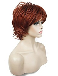 cheap -Synthetic Wig Curly Natural Hairline 100% kanekalon hair Red Women's Capless Natural Wigs Cosplay Wig Short Synthetic Hair