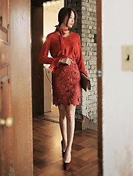 Women's Club Sexy Summer Blouse Skirt Suits,Solid V Neck Long Sleeve Micro-elastic