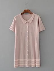 Feminino Solto Tricô Vestido,Para Noite Praia Simples Moda de Rua Sólido Listrado Colarinho de Camisa Acima do Joelho Manga Curta Algodão