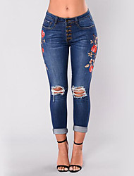 cheap -Women's High Rise Stretchy Skinny Jeans Pants,Sexy Street chic Embroidered Polyester Summer Fall