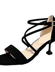 preiswerte -Damen Schuhe Kaschmir Sommer Komfort Sandalen Walking Stöckelabsatz Runde Zehe für Schwarz / Rosa