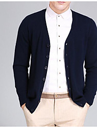 Men's Going out Casual/Daily Vintage Simple Cute Regular Cardigan,Solid V Neck Long Sleeves Wool Cotton Polyester Fall Winter Thick