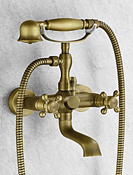 Antique Tub And Shower Handshower Included Ceramic Valve Two Holes Two Handles Two Holes Antique Brass , Bathtub Faucet