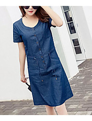 cheap -Women's Daily Going out Cute Sexy Street chic Denim Dress,Solid Round Neck Midi Long Sleeves Cotton Linen Acrylic Spring Summer High Rise