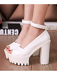 cheap -Women's Heels Comfort Basic Pump Summer PU Casual White Black 2in-2 3/4in