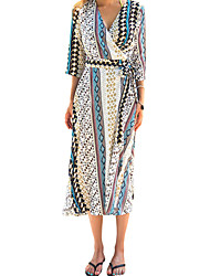 Women's Floral Striped Sexy Cover-Up Beach Swimwear Print Half Sleeve Deep V Polyester/Chiffon Rainbow