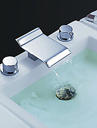 cheap -Modern Style High Quality Widespread Waterfall Brass Valve Two Handles Three Holes Chrome, Bathroom Sink Faucet