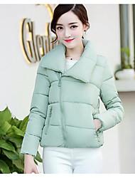 preiswerte -Damen Daunen Mantel Einfach Aktiv Ausgehen Solide Gestreift Druck-Baumwolle Acryl Andere Polypropylen Langarm