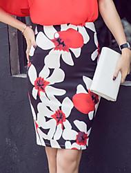 abordables -Mujer Sofisticado Noche Corte Bodycon Faldas - Estampado, Floral / Verano