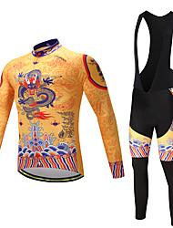 economico -Maglia con salopette lunga da ciclismo Per uomo Manica lunga Bicicletta Set di vestiti Asciugatura rapida Permeabile all'umidità Pad 3D