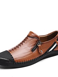 cheap -Men's Oxfords Moccasin Driving Shoes Comfort Light Soles Real Leather PU Cowhide Leather Fall Winter Casual Office & Career Flat Heel