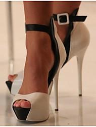 baratos -Mulheres Sapatos Couro Ecológico Verão Conforto Saltos para Casual Branco