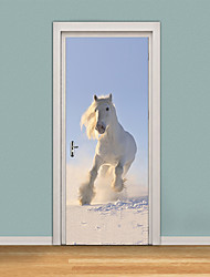 cheap -77*200cm White Horse Self-adhesive Wall Sticker 3D Door Sticker Kid's Room Living Room Horse Running In Sandy Land Mural Decal Poster Home Decor