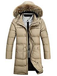 Manteau Doudoune Homme,Longue simple Grandes Tailles Couleur Pleine-Polyester Duvet de Canard Blanc Manches Longues