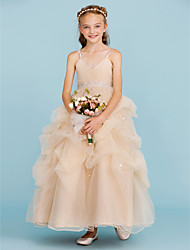 cheap -Ball Gown Ankle Length Flower Girl Dress - Tulle Sleeveless Spaghetti Straps with Bow(s) Crystal Detailing Pick Up Skirt Sash / Ribbon