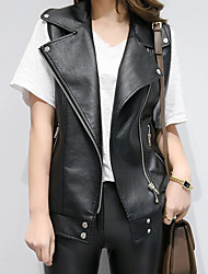 Women's Casual/Daily Simple Fall Vest,Solid Peaked Lapel Sleeveless Regular PU Others
