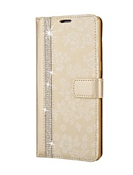 preiswerte -Hülle Für Samsung Galaxy Note 8 Geldbeutel Strass mit Halterung Flipbare Hülle Geprägt Ganzkörper-Gehäuse Blume Hart PU-Leder für Note 8