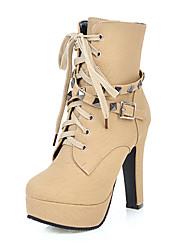 damesko læderret efterår vinter ankelrem mode støvler støvler chunky hæl platform runde tå mid-calf støvler nitte spænde lynlås