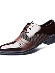 cheap -Men's Oxfords Spring Fall Formal Shoes PU Wedding Outdoor Office & Career Casual Party & Evening Flat Heel Black Brown Walking