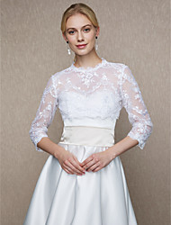 cheap -Lace Wedding Party / Evening Women's Wrap With Buttons Lace Shrugs