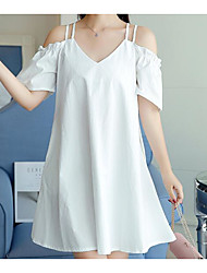 Women's Going out Casual/Daily Cute Loose Dress,Solid Strap Above Knee Short Sleeves Cotton Linen Summer Mid Rise Inelastic Medium