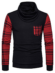 Men's Casual/Daily Simple Regular Pullover,Houndstooth Cowl Neck Long Sleeves Cotton Fall Winter Medium Stretchy