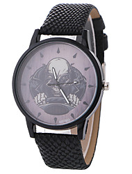 Men's Fashion Watch Wrist watch Quartz Leather Band Skull Cool Casual Black Blue Brown