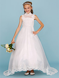 cheap -Ball Gown Sweep / Brush Train Flower Girl Dress - Lace / Satin Sleeveless High Neck with Beading / Appliques by LAN TING BRIDE®