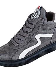 Для женщин Обувь Нубук Осень Удобная обувь Спортивная обувь На плоской подошве Круглый носок Шнуровка Назначение Черный Серый