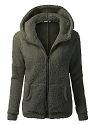 Women's Daily Holiday Going out Simple Casual Street chic Fall Jacket,Solid Hooded Long Sleeve Regular Polyester