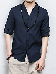 Men's Plus Size Casual/Daily Simple Chinoiserie All Seasons Shirt,Solid V Neck 3/4 Length Sleeves Linen