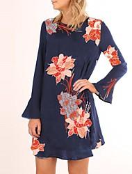 Damen Hülle Kleid-Ausgehen Lässig/Alltäglich Retro Street Schick Blumen Rundhalsausschnitt Mini Langarm Polyester Frühling Herbst
