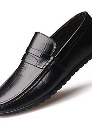 Masculino Mocassins e Slip-Ons Conforto Mocassim Sapatos de mergulho Outono Inverno Pele Real Couro Casual Fru-Fru Rasteiro Preto Marron