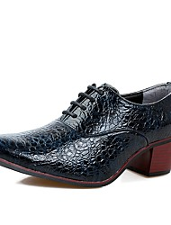 Men's Shoes Real Leather PU Leather Spring Fall Formal Shoes Comfort Oxfords For Office & Career Party & Evening Burgundy Blue Black White
