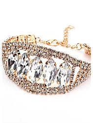 baratos -Mulheres Cristal Gema Cristal Formato de Folha Bracelete - Metálico Bling Bling Dourado Pulseiras Para Casual Formal