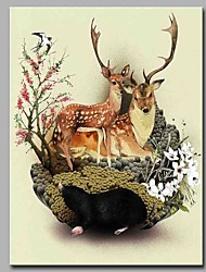 cheap -Hand-Painted Animals Vertical, Artistic Nature Inspired Modern/Contemporary Office/Business New Year's Christmas Canvas Print Home