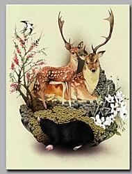 Peint à la main Animal Format Vertical,Artistique Inspiré de la nature Moderne/Contemporain Bureau / Affaires Noël Nouvel An Un Panneau