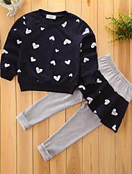 Недорогие -Дети (1-4 лет) Девочки С цветами / Нарядная одежда геометрический Длинный рукав Хлопок Набор одежды