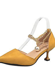 cheap -Women's Shoes PU Summer Comfort Heels Walking Shoes Stiletto Heel Round Toe Pearl For Casual Yellow Black