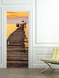 77*200cm 3D Sunset River/Sea Scenery Door Mural Sticker 3D Boat Standing Aside Wooden Bridge Wall Mural Decal Home Decor for Living Kids Room