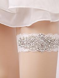 baratos -Renda Casamento Wedding Garter Com Pedrarias / Pérolas Sintéticas Ligas