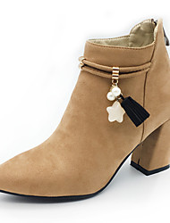 Women's Boots Fashion Boots Bootie Fall Winter Nubuck leather Fleece Casual Party & Evening Imitation Pearl Zipper Tassel Chunky Heel