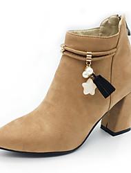 cheap -Women's Boots Fashion Boots Bootie Fall Winter Nubuck leather Fleece Casual Party & Evening Imitation Pearl Zipper Tassel Chunky Heel