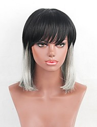 Women Human Hair Capless Wigs Black/Grey Medium Length Straight Side Part Ombre Hair Dark Roots